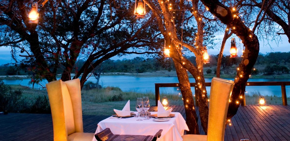 Romantic dinner on a safari honeymoon in South Africa