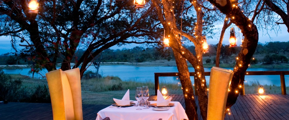 Romantic dinner on a safari honeymoon in South Africa