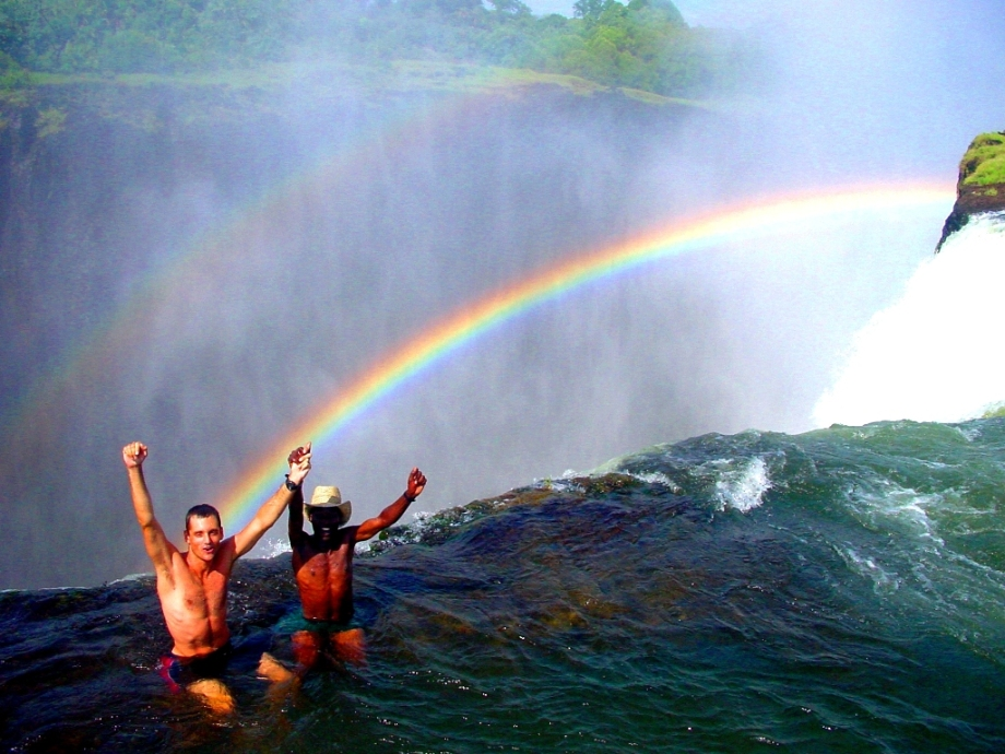 Swimming in the Devil's Pool, Victoria Falls, Zambia