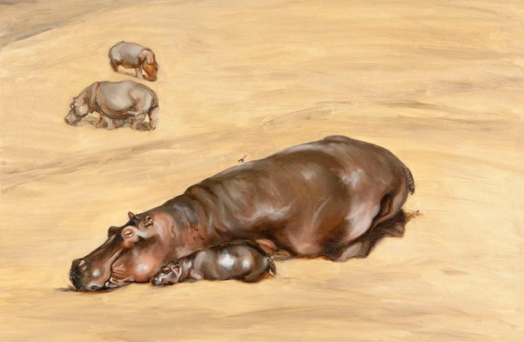 Sleeping hippos by African wildlife artist Francesca Sanders