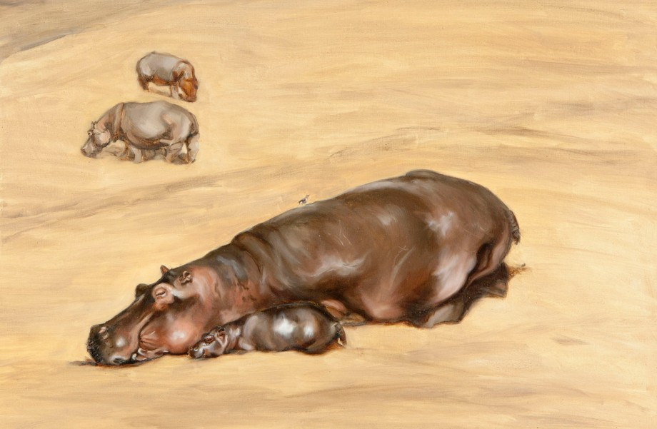 Sleeping hippos by African wildlife artist Francesca Sanders