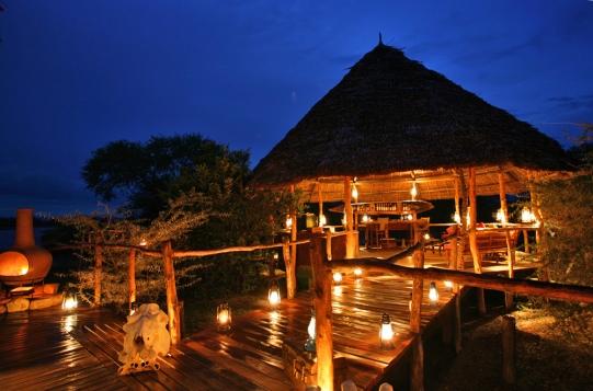 Selous Impala Camp by Night