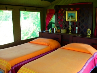 Twin bedded luxury tent at Selous Impala Camp