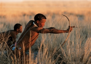 Bushmen hunting near San Camp, Botswana