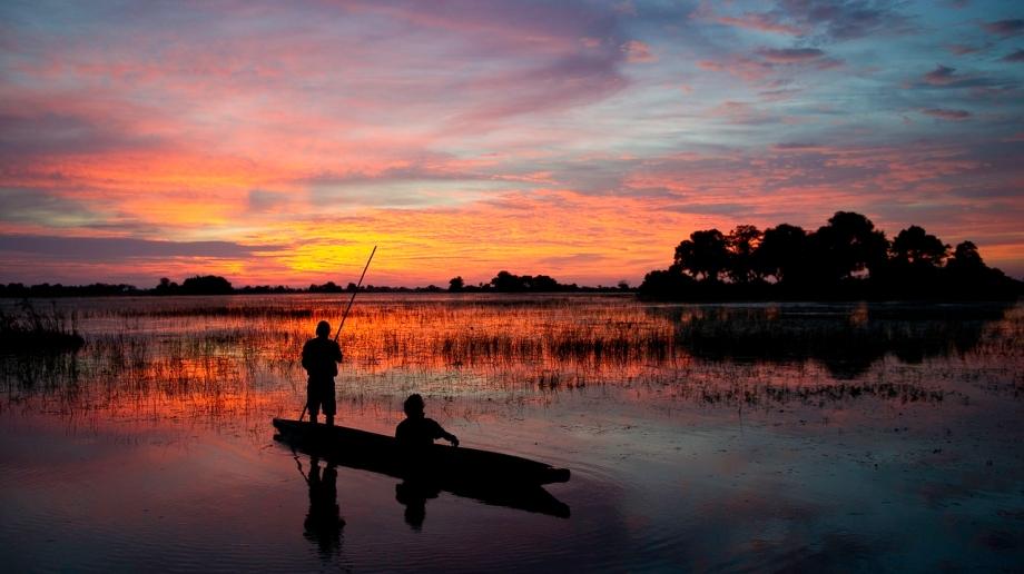 Sunset Mokoro trip in the Okavango Delta