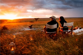 Sundowner at Karen Blixen Camp, Masai Mara