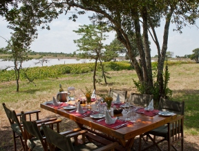 Lunch under the trees at Kicheche Laikipia