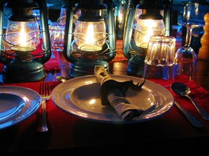 Dinner by candlelight at Ol Pejeta Bush Camp