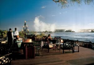 Deck at the Royal Livingstone, Victoria Falls