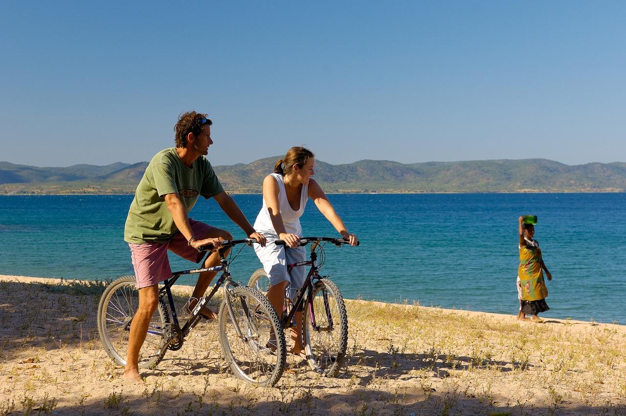 Cycling on Likoma Island from Kaya Mawa