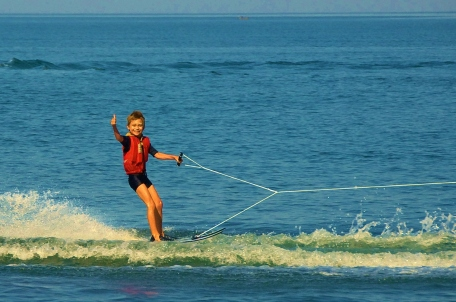 Waterskiing at Pumulani, Lake Malawi