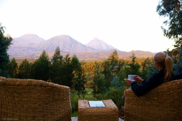 Morning coffee at Sabyinyo Silverback Lodge